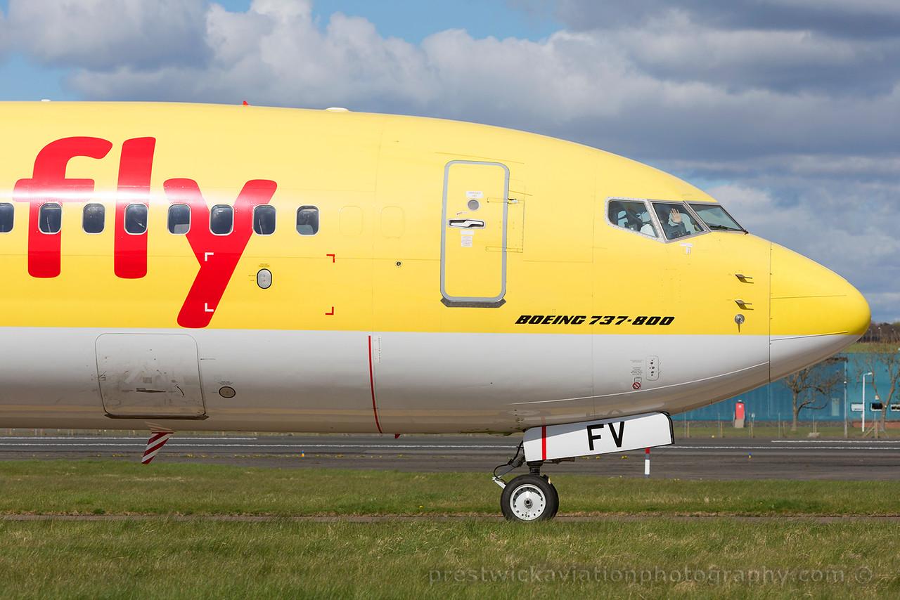 D-AHFV. Boeing 737-8K5. TUIfly. Prestwick. 250415.
