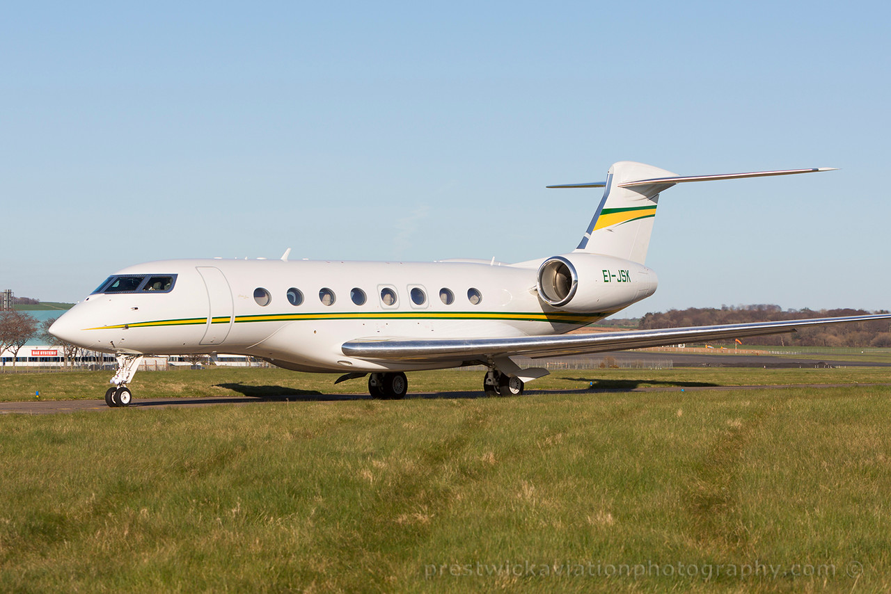 EI-JSK. Gulfstream Aerospace G650. Private. Prestwick. 180415.