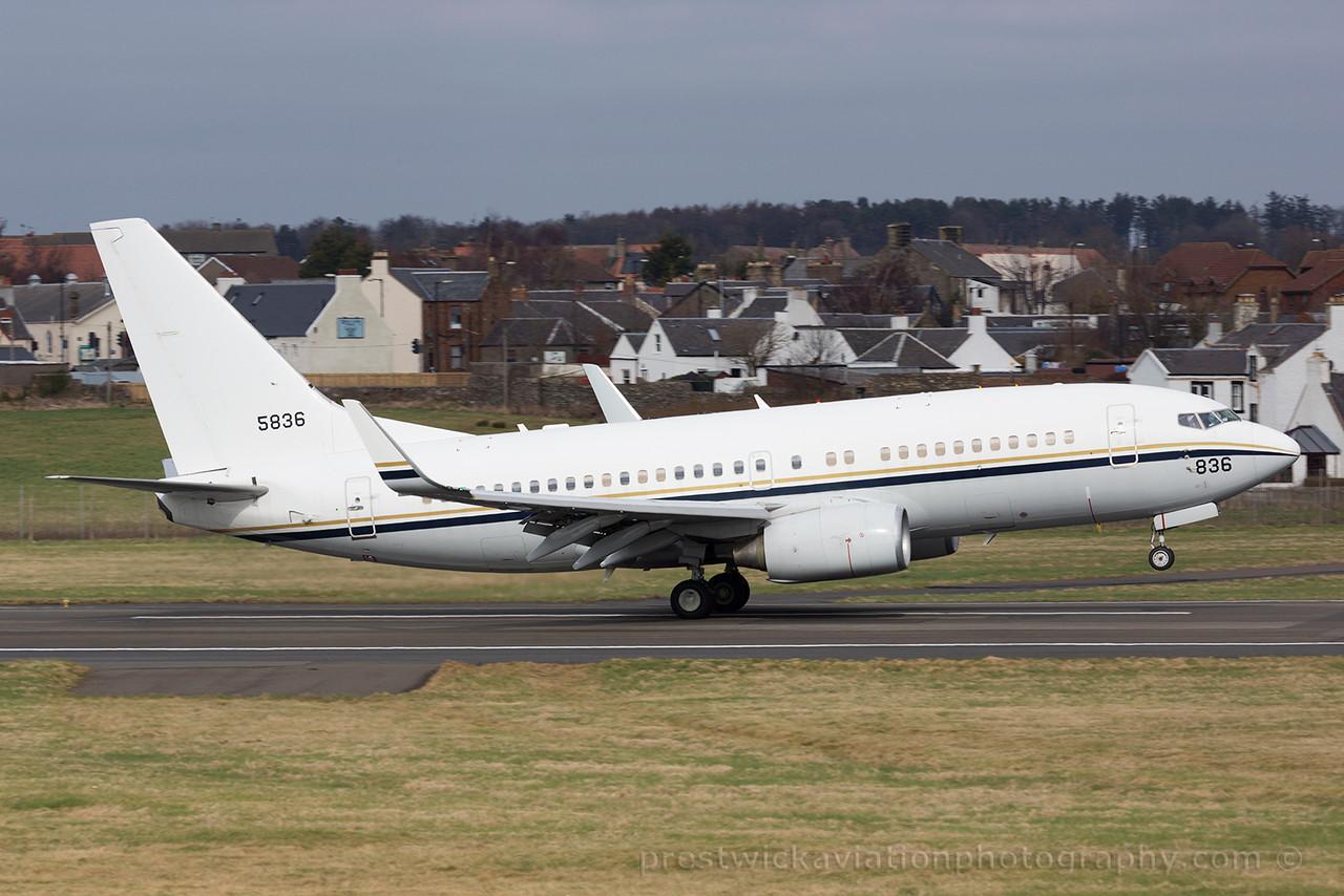 165836. Boeing C-40A Clipper. US Navy. Prestwick. 140315.
