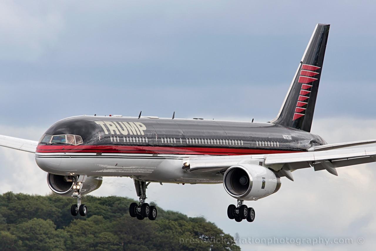 N757AF. Boeing 757-2J4. Trump Corp. Prestwick. 010815.