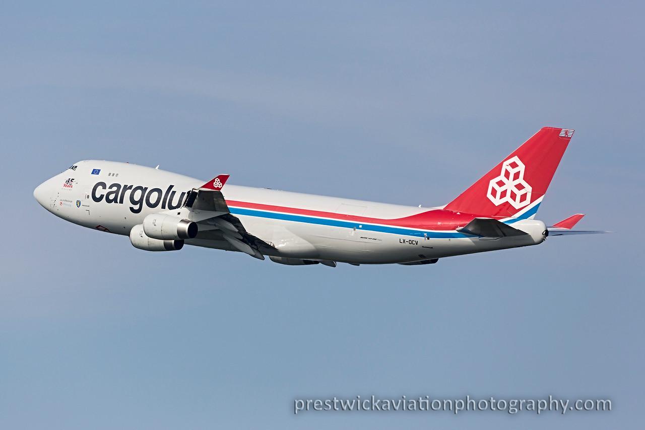 LX-OCV. Boeing 747-4R7F/SCD. Cargolux. Prestwick. 130815.