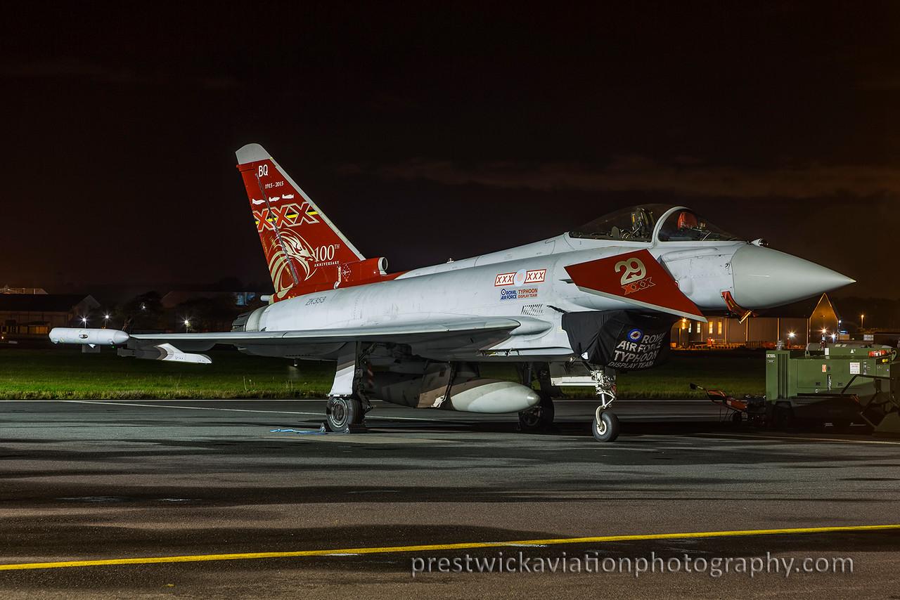 ZK353. Eurofighter EF-2000 Typhoon FGR4. RAF. Prestwick. 040915.