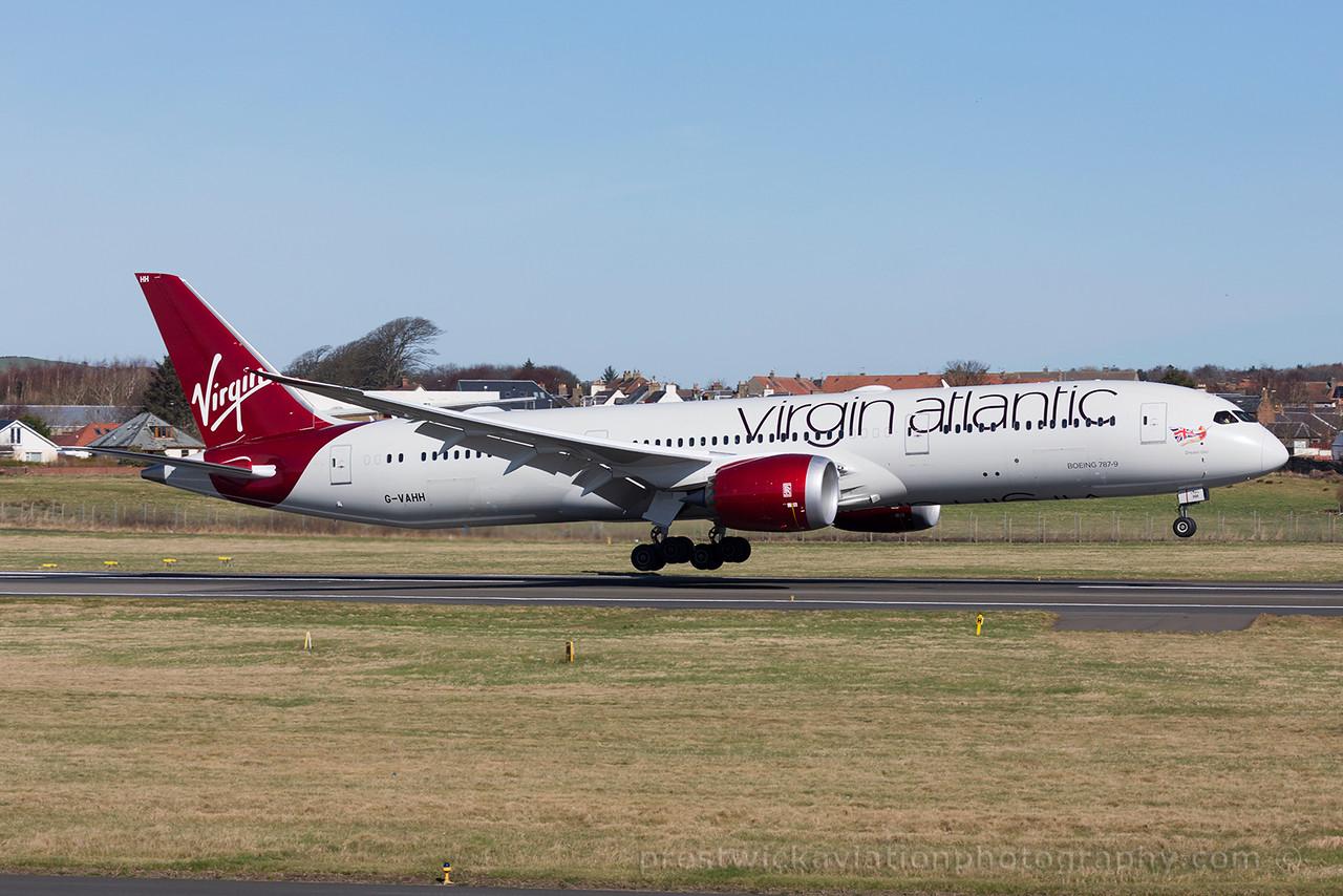 G-VAHH. Boeing 787-9 Dreamliner. Virgin Atlantic. Prestwick. 220315.