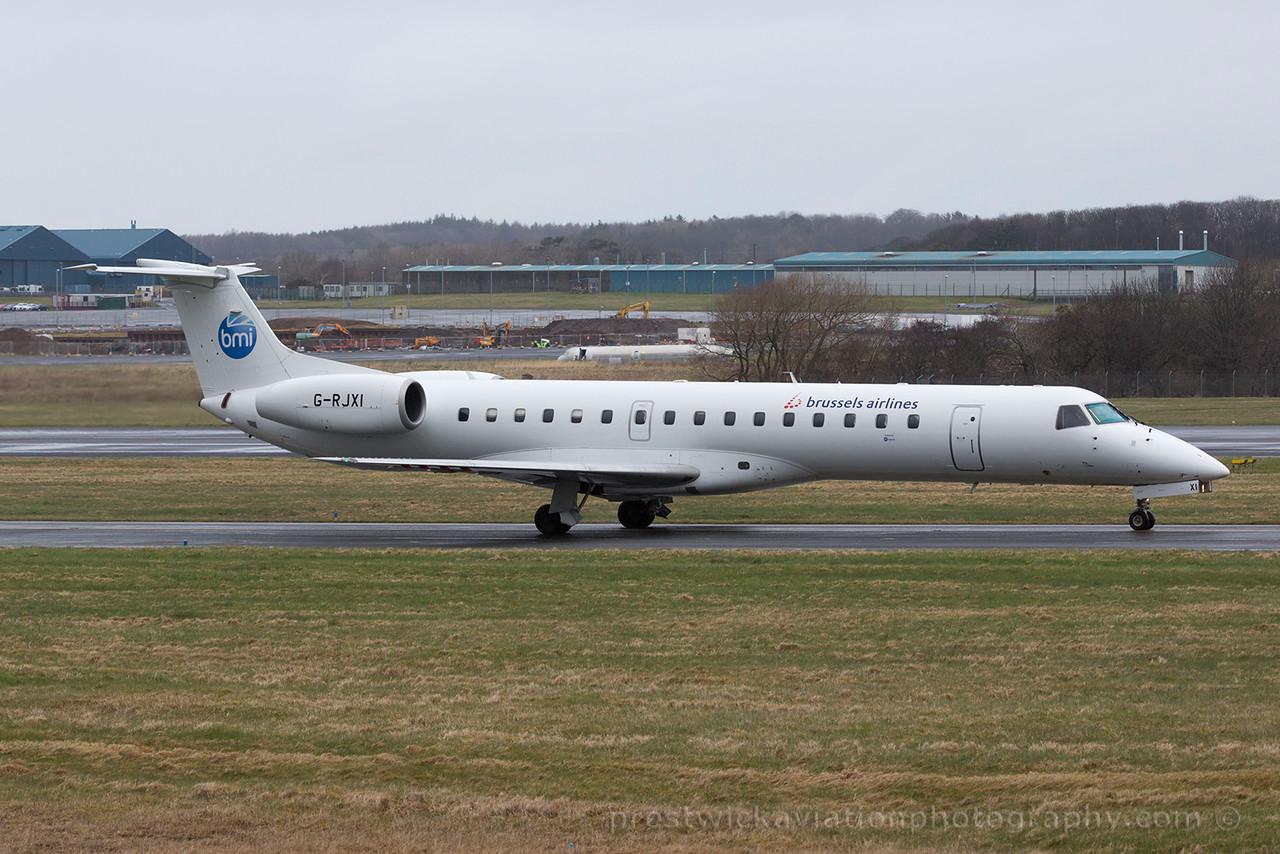 G-RJXI. Embraer EMB-145EP. BMI. Prestwick. 290315.