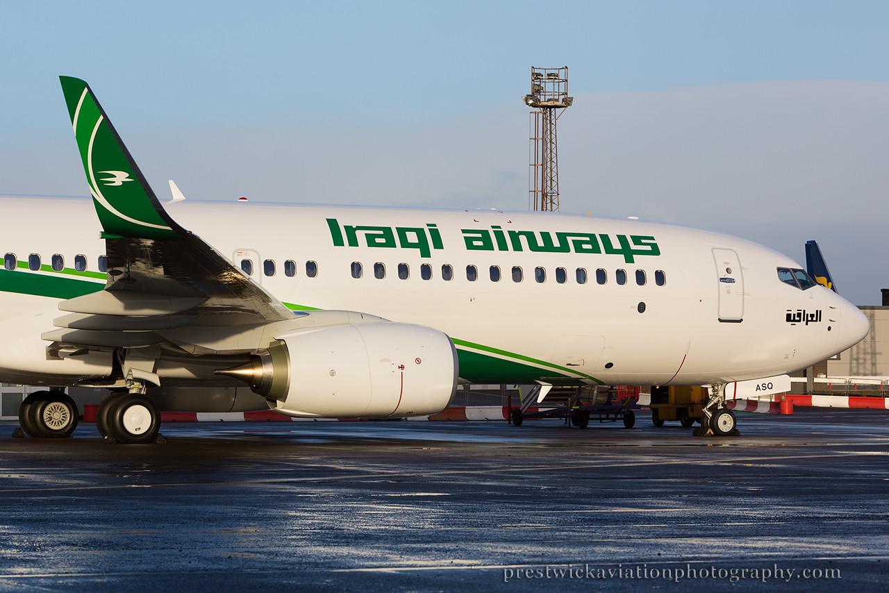 YI-ASQ. Boeing 737-81Z (WL). Iraqi Airways. Prestwick. 240115.