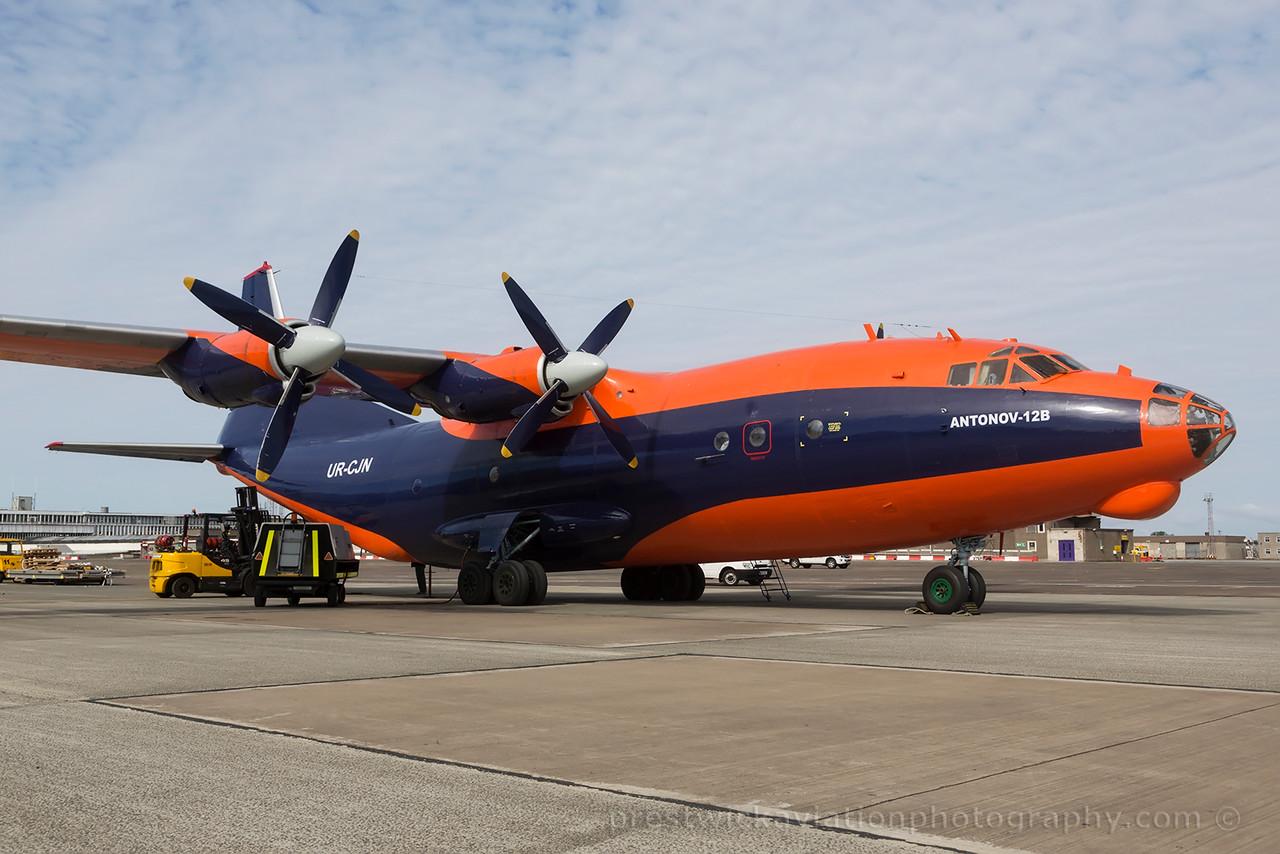 UR-CJN. Antonov An-12B. Cavok Air. Prestwick. 090615.