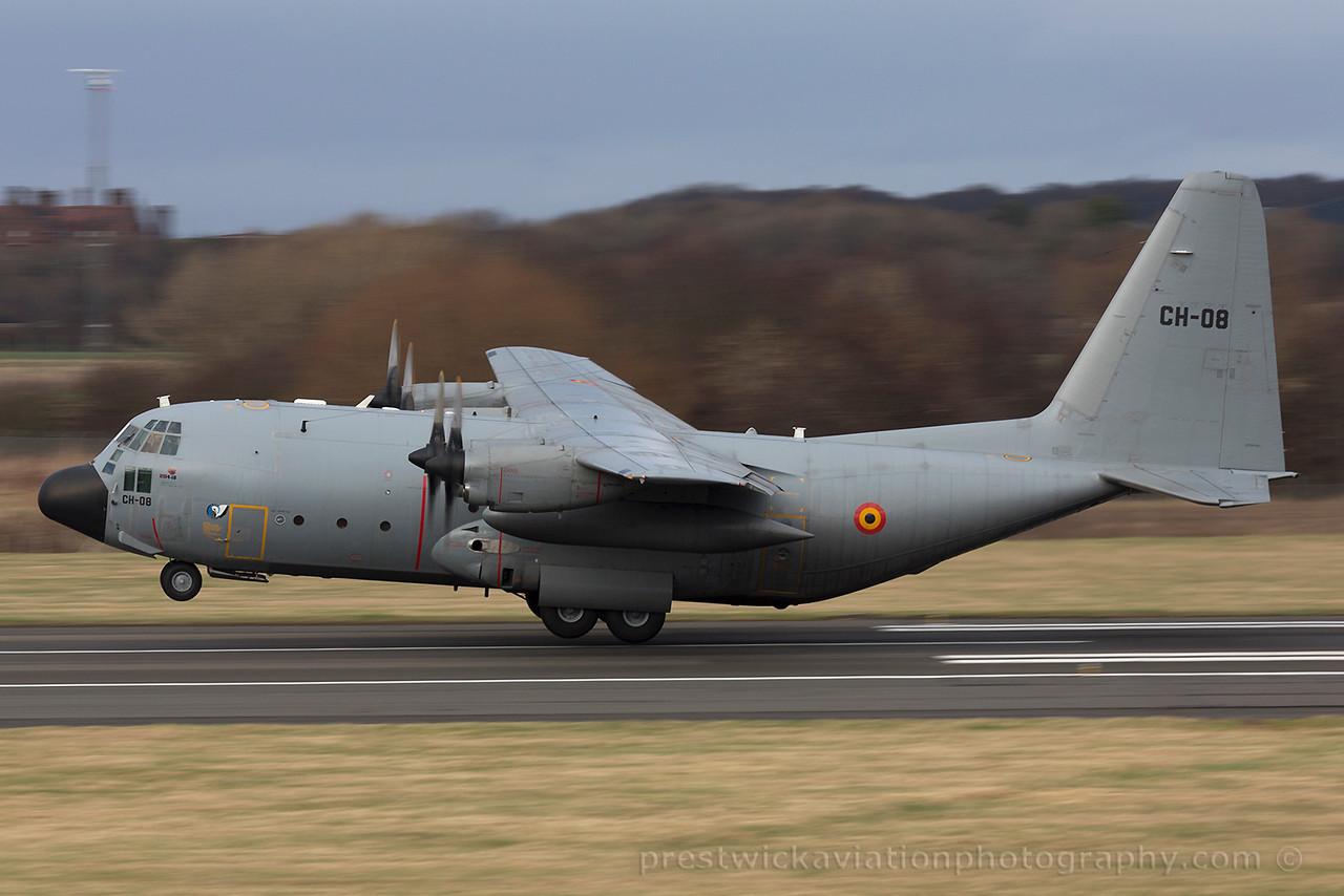 CH-08. Lockheed C-130H Hercules. Belgium Air Force. Prestwick.050315.