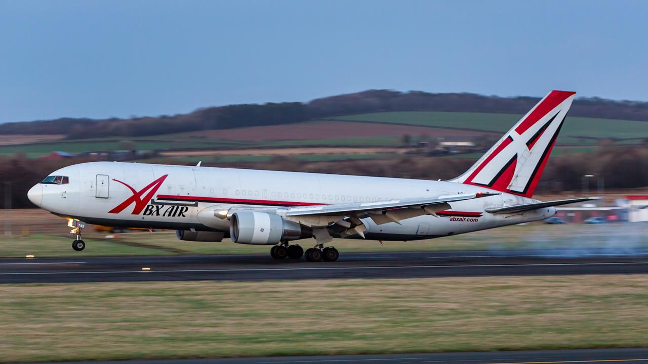 N745AX. Boeing 767-232(BDSF). ABX Air. Prestwick. 080315.
