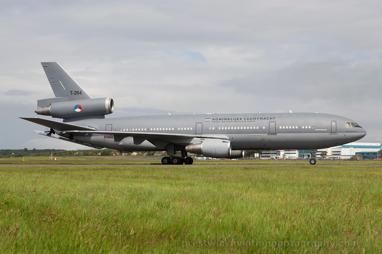 T-264. McDonnell Douglas KDC-10-30CF. Dutch Air Force. Prestwick. 070715.