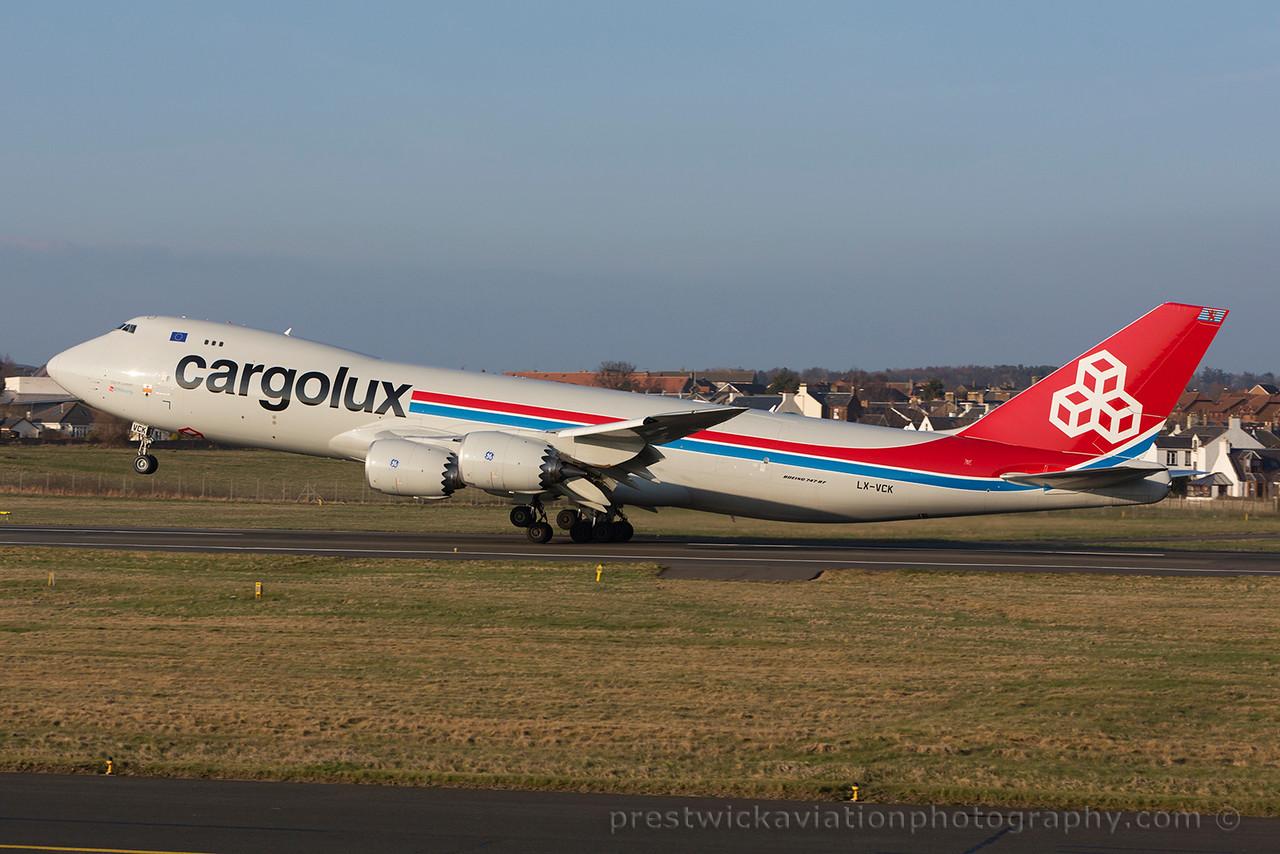 LX-VCK. Boeing 747-8R7F/SCD. Cargolux. Prestwick. 180315.