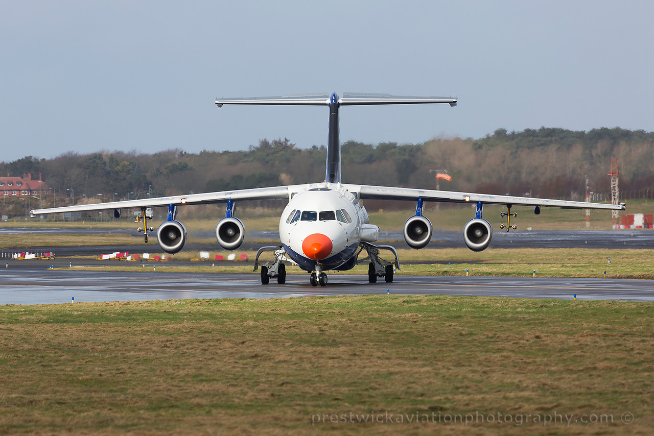 G-LUXE. British Aerospace BAe 146-301ARA. Facility for Airborne Atmospheric Measurements-FAAM. Prestwick. 080315.