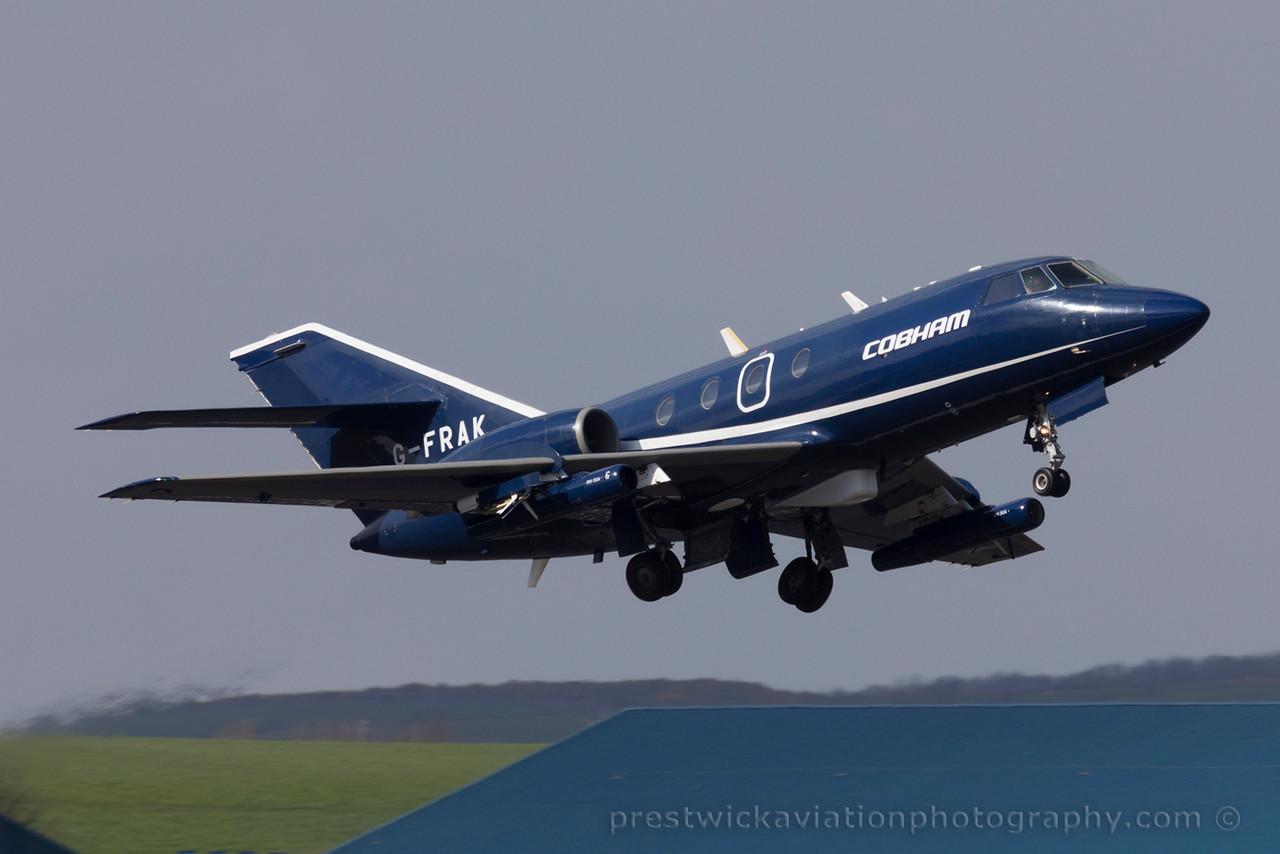 G-FRAK. Dassault Falcon 20E. Cobham. Prestwick. 170415.