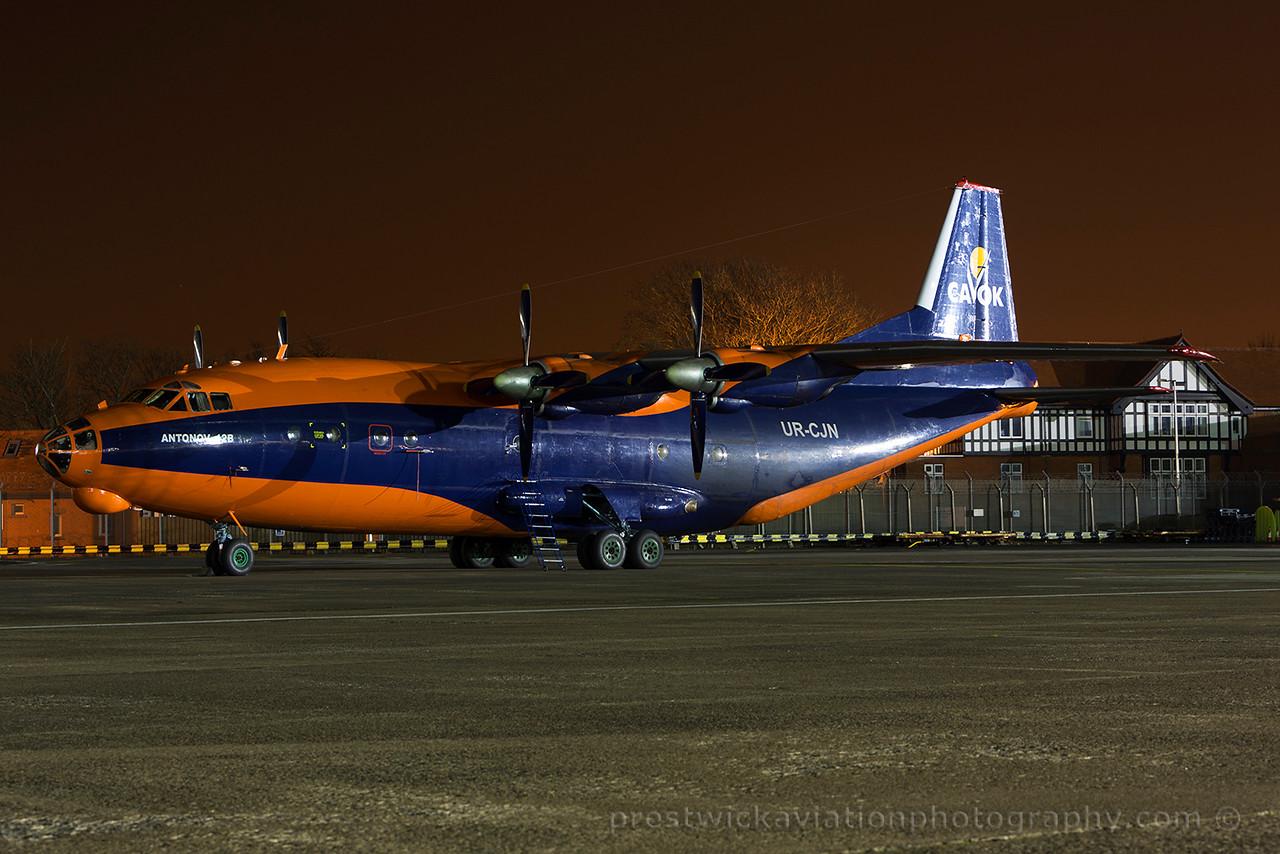 UR-CJN. Antonov An-12B. Cavok Air. Prestwick. 160315.