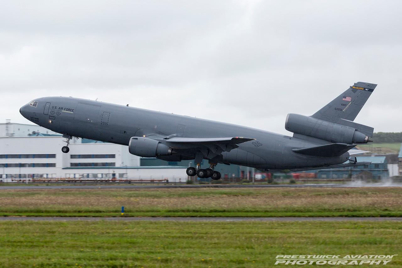 85-0031. McDonnell Douglas KC-10A Extender. USAF. Prestwick. 100716.