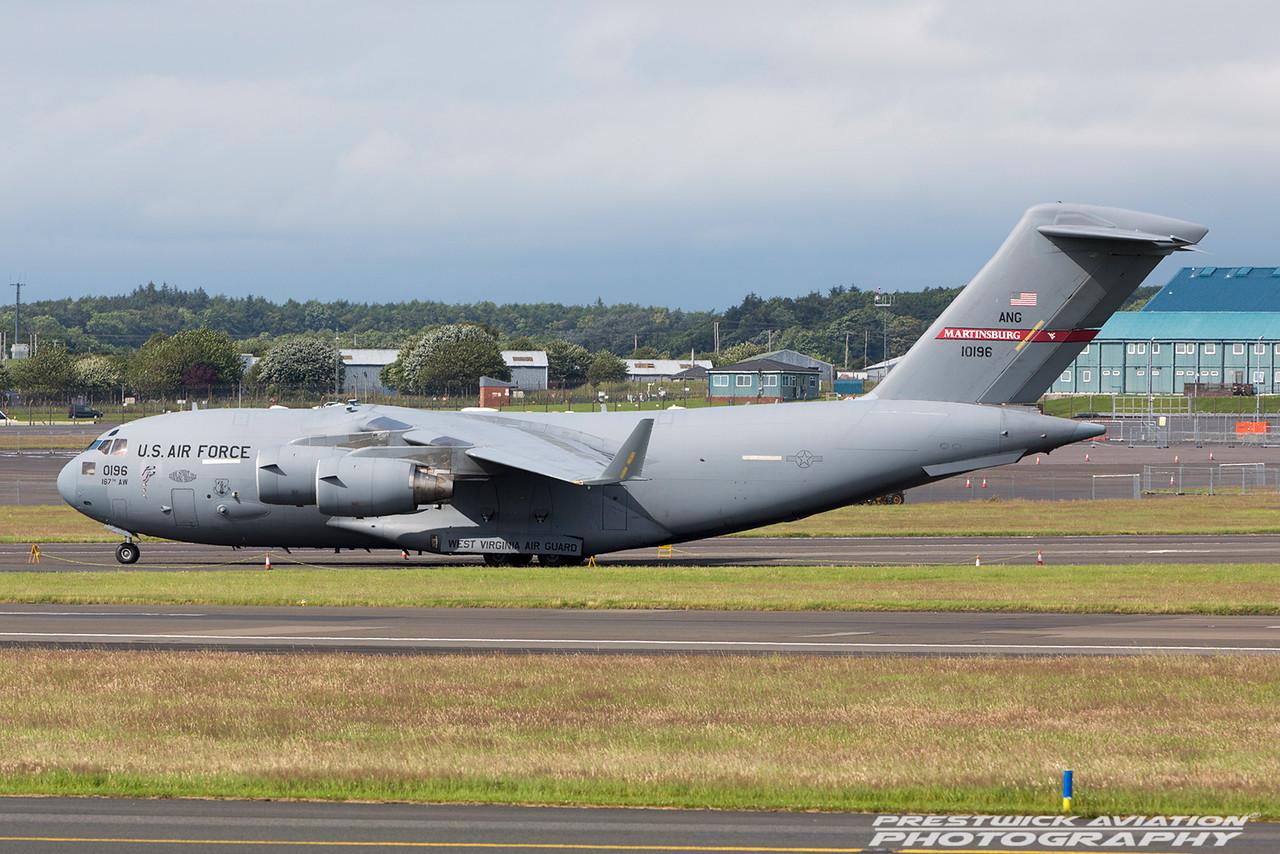 01-0196. McDonnell Douglas C-17A Globemaster III. USAF. Prestwick. 090716.