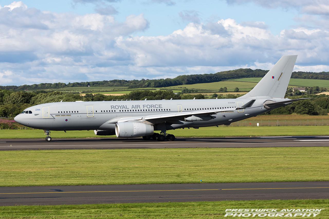 ZZ334. Airbus A330-243 (MRTT) Voyager KC1. RAF. Prestwick. 290716.