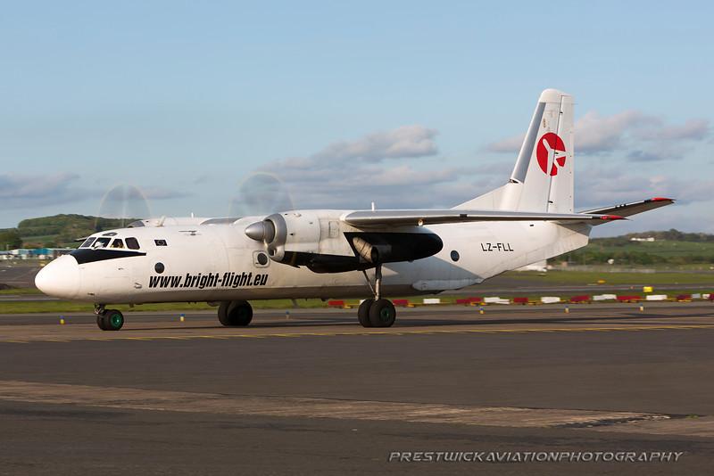 LZ-FLL. Antonov AN-26B. Bright Flight. Prestwick. 250516.