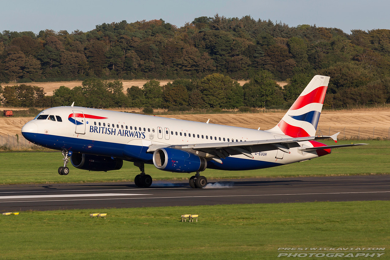 G-EUUH. Airbus A320-232. British Airways. Prestwick. 011016.