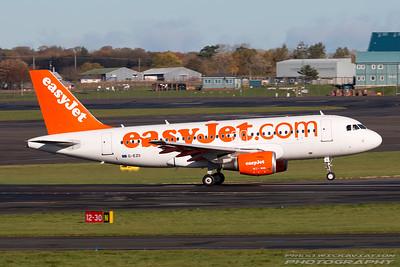 G-EZII. Airbus A319-111. EasyJet. Prestwick. 021116.