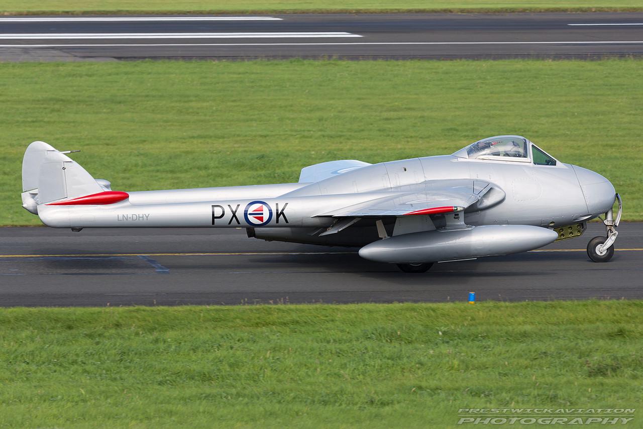 LN-DHY. De Havilland Vampire FB.6. Private. Prestwick. 040916.