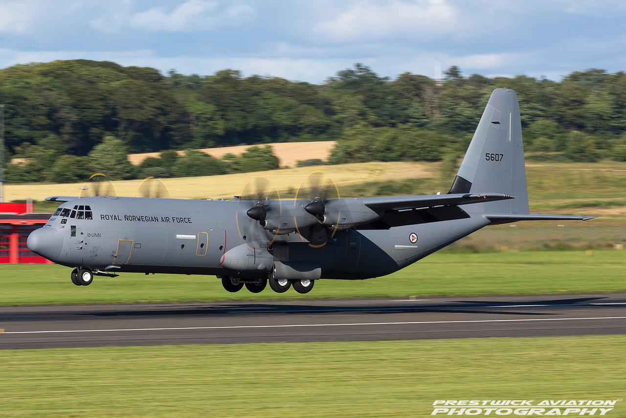 5607. Lockheed Martin C-130J-30 Hercules II. Royal Norwegian Air Force. Prestwick. 290716.