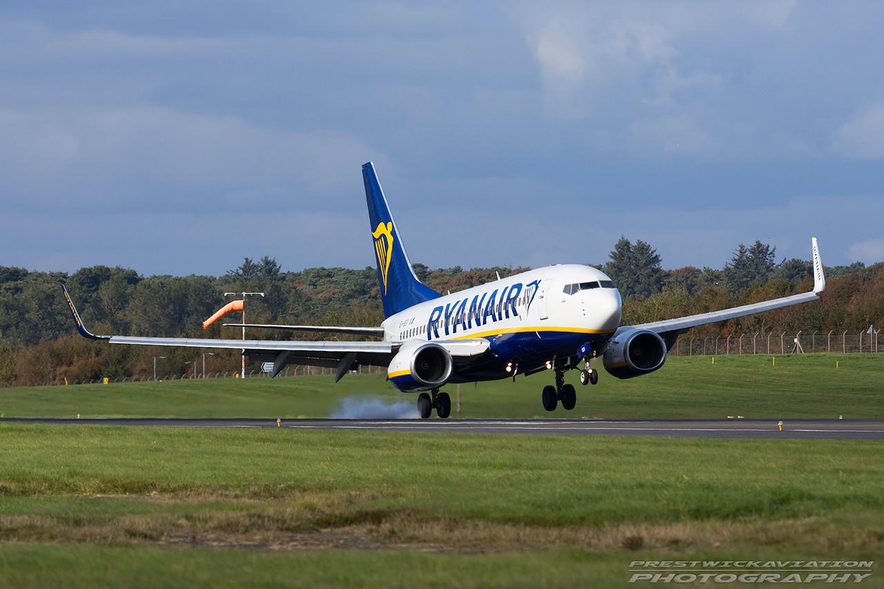 EI-SEV. Boeing 737-73S. Ryanair. Prestwick. 111016.