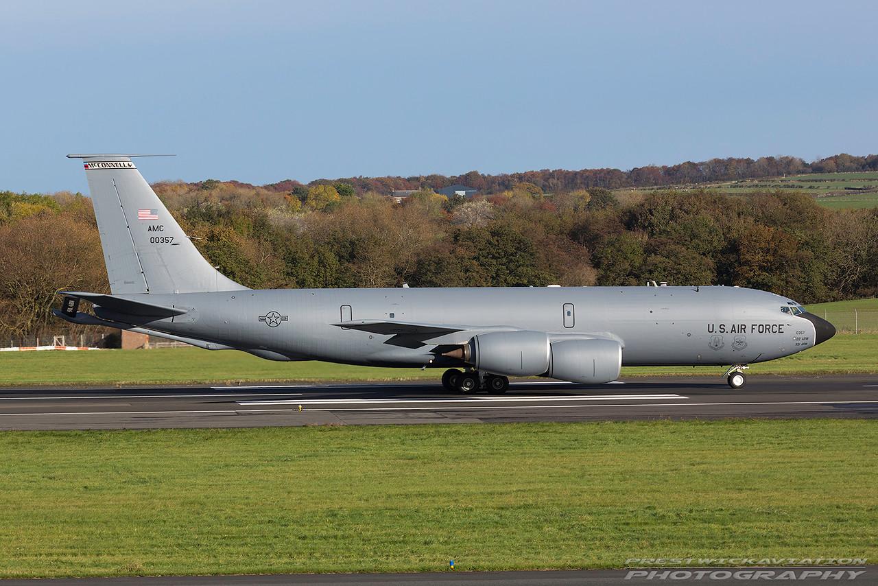 60-0357. Boeing KC-135R Stratotanker. USAF. Prestwick. 011116.