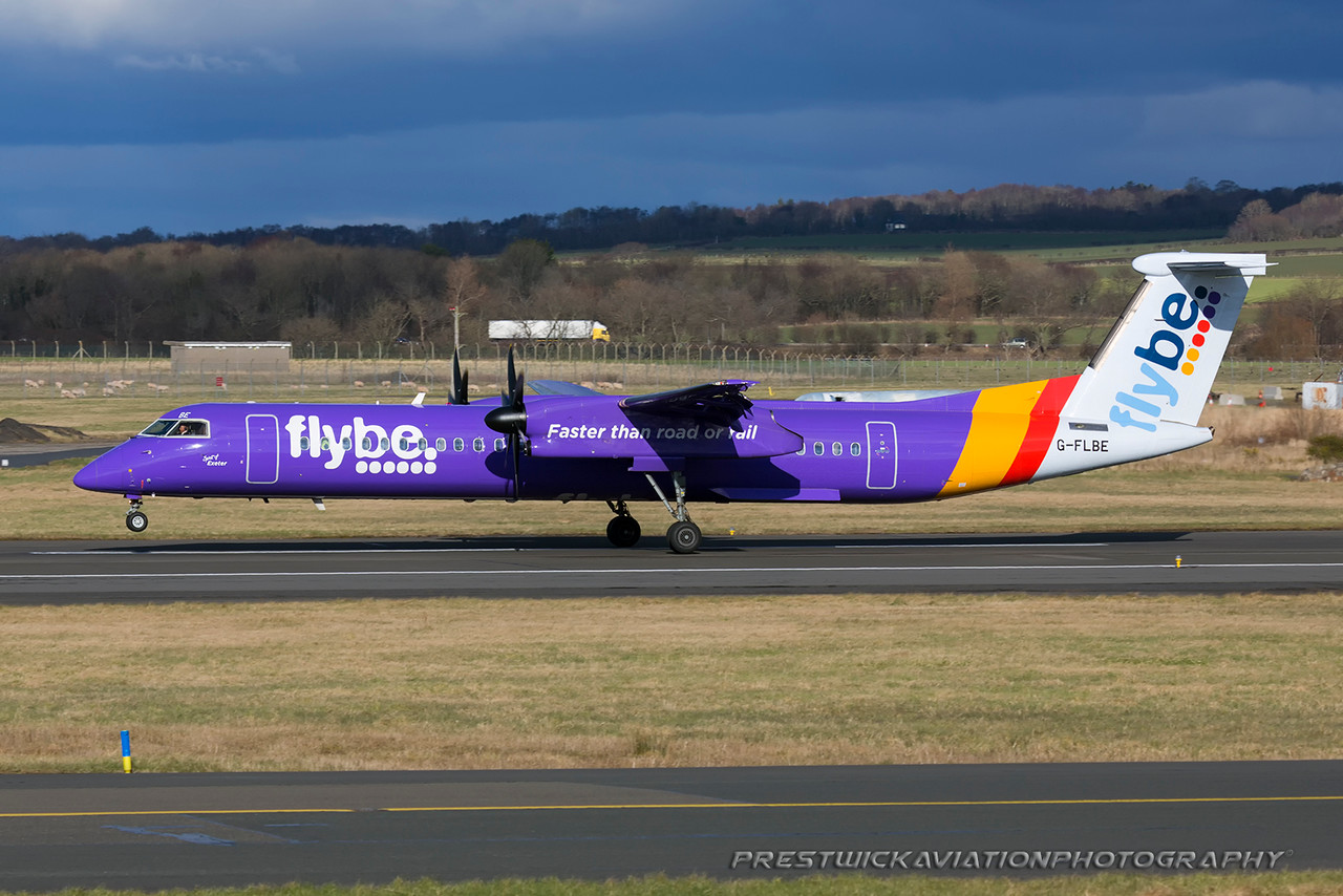 G-FLBE. Bombardier DHC-8-402 Q400. Flybe. Prestwick. 050316.