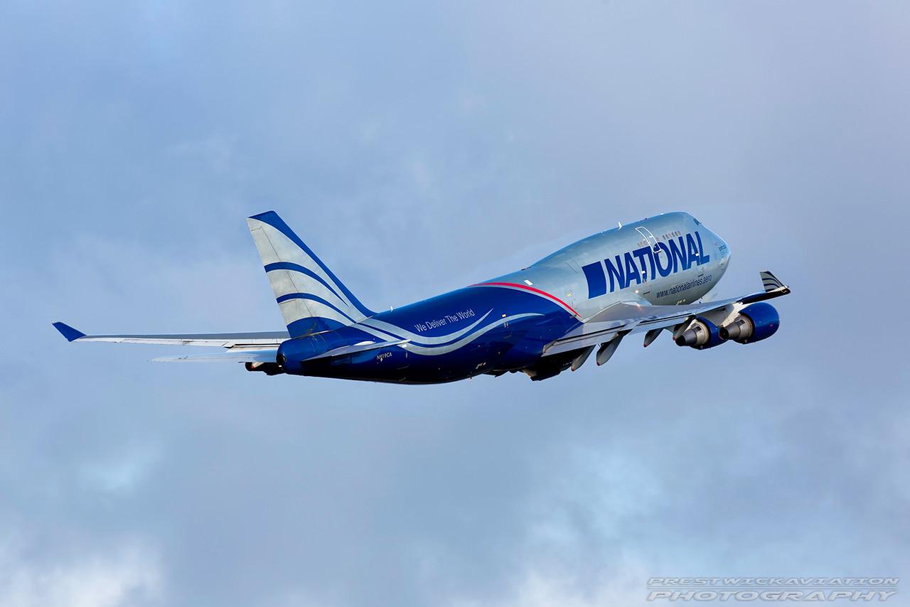N919CA. Boeing 747-428M(BCF). National Cargo. Prestwick. 161016.