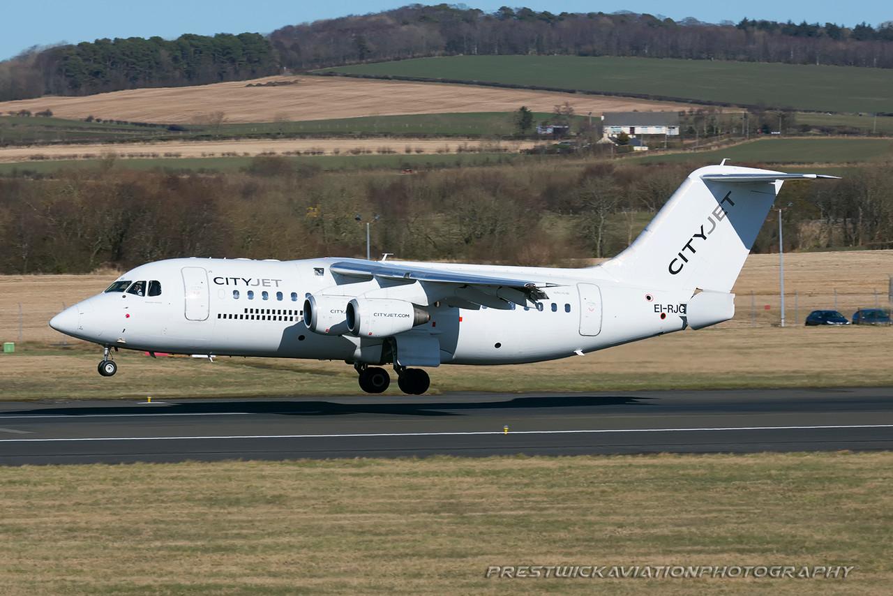 EI-RJG. British Aerospace Avro 146-RJ85. Cityjet. Prestwick. 070316.