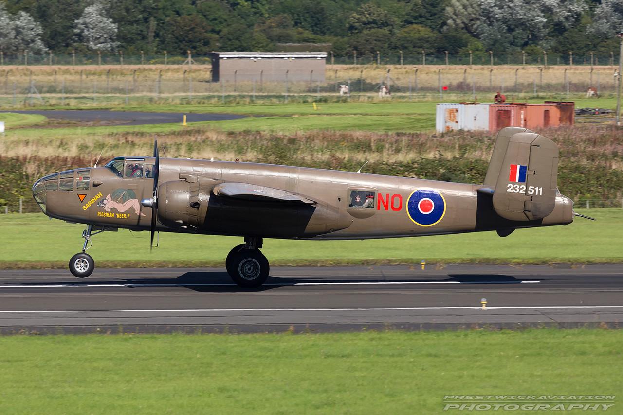 232511. North American TB-25N Mitchell. Flying Legends. Prestwick. 040916.