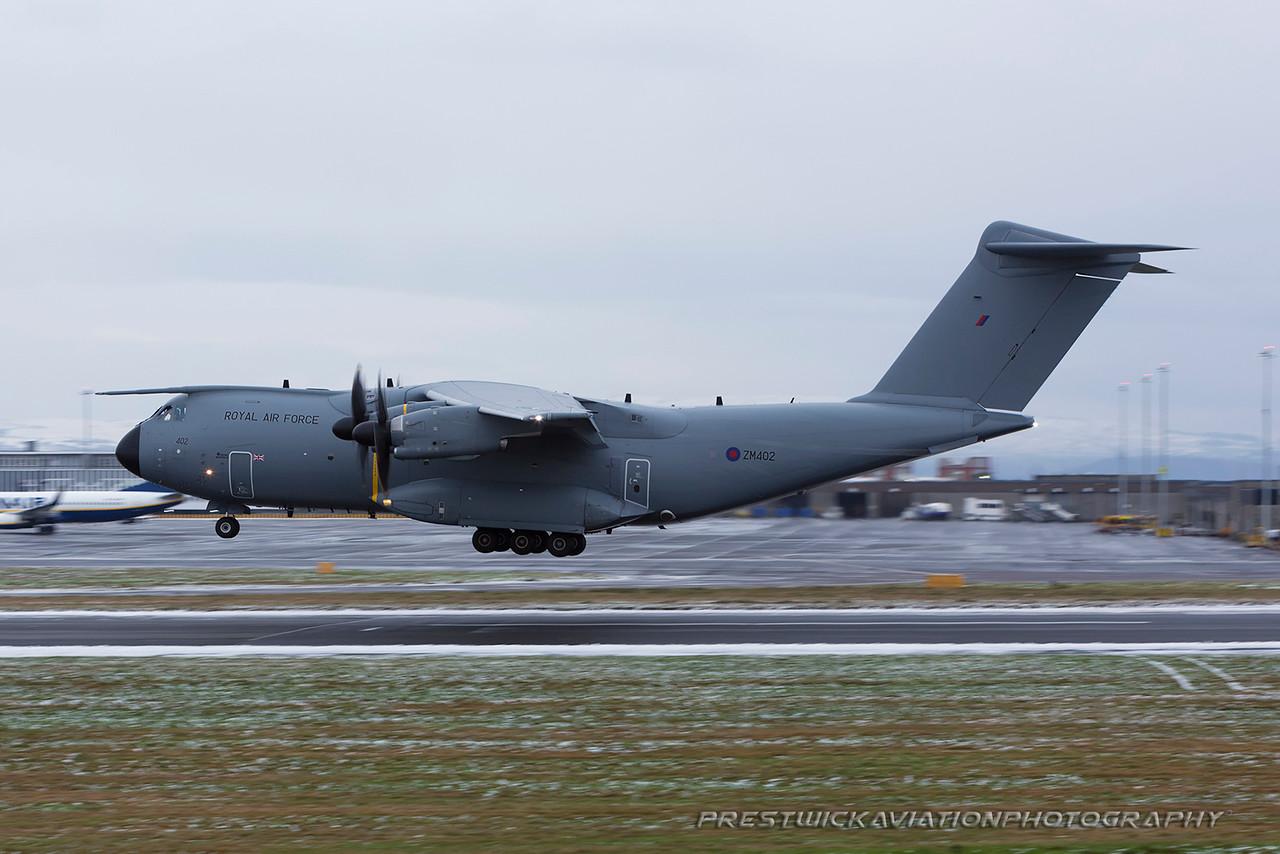 ZM402. Airbus A400M Atlas C1. RAF Prestwick. 170115.