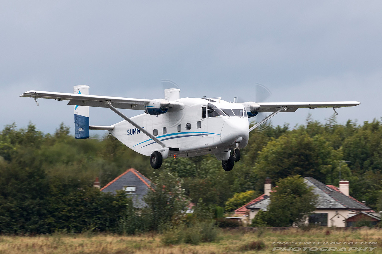 C-FARA. Shorts SC-7 Skyvan 100. Summit Air. Prestwick. 030916.