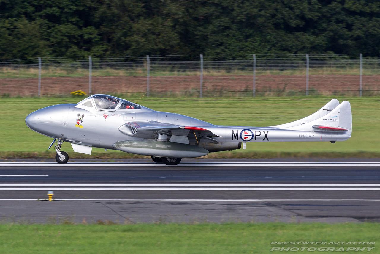 LN-DHZ. De Havilland DH-115 Vampire T.55. Private. Prestwick. 040916.