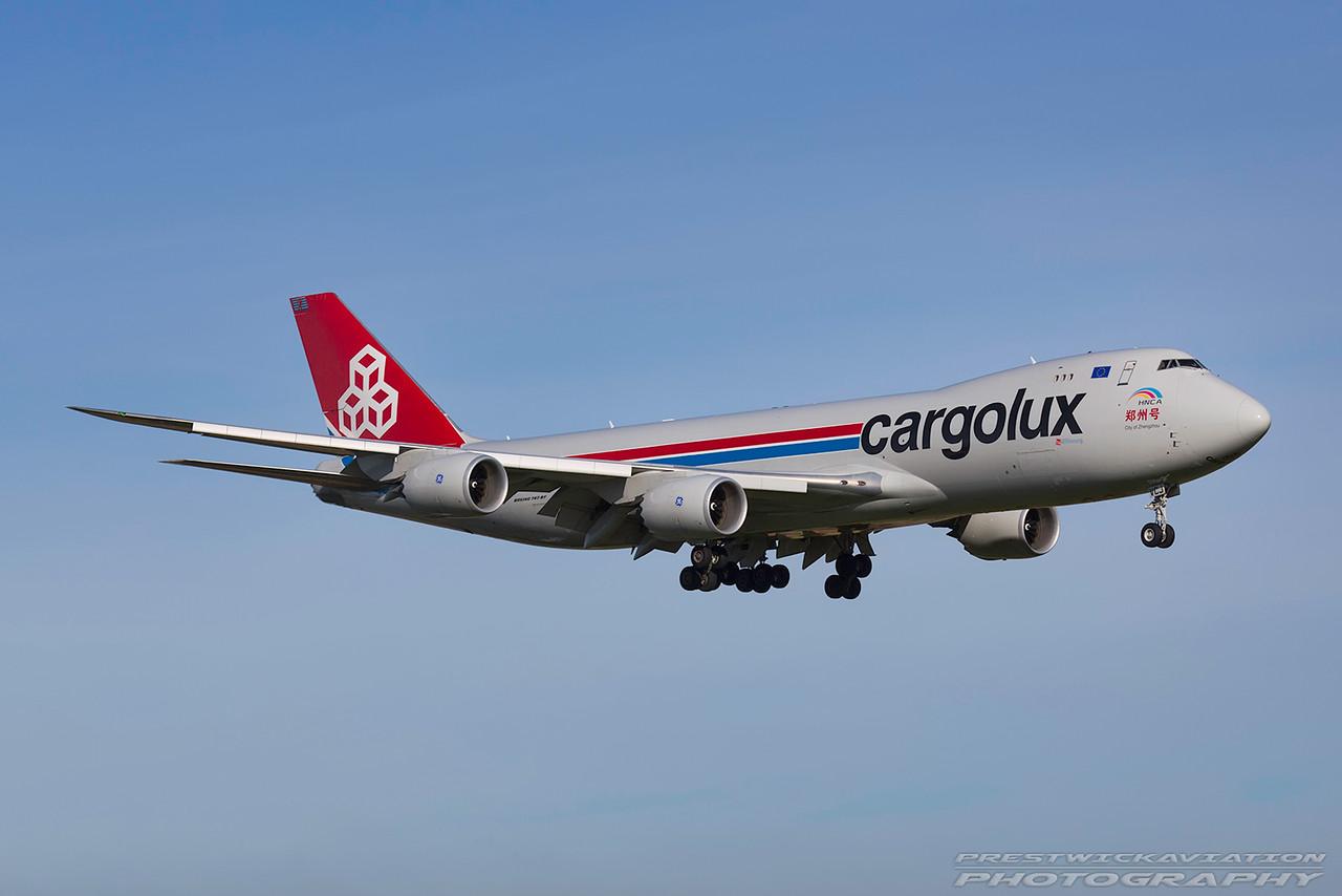 LX-VCJ. Boeing 747-8R7F/SCD. Cargolux. Prestwick. 101016.