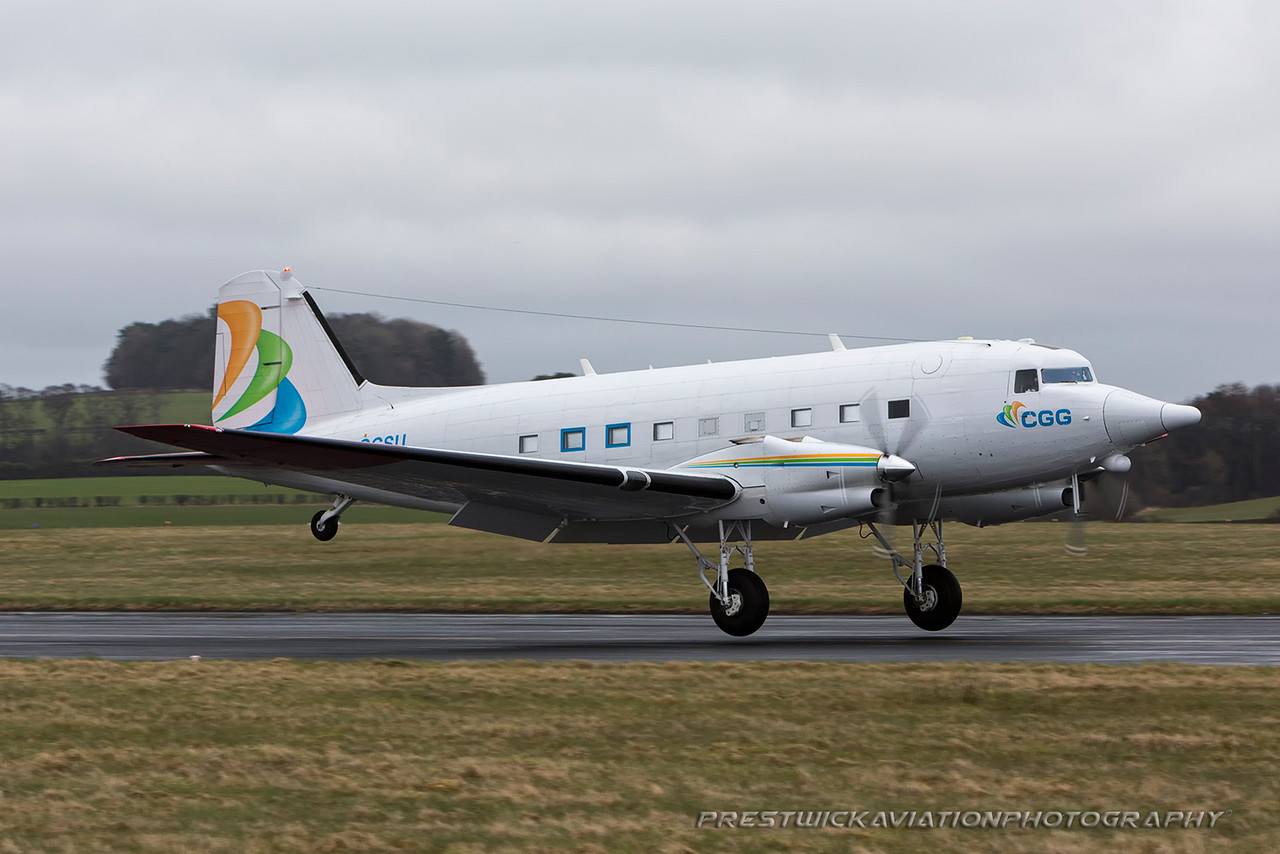 C-GGSU. Douglas (Basler) BT-67 Turbo-67. CGG Aviation. Prestwick. 240316.