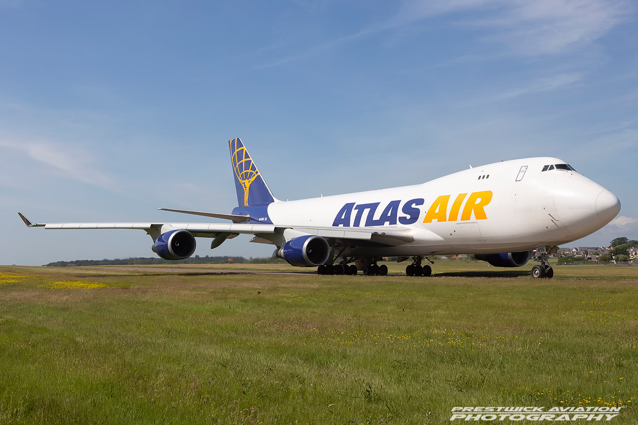 N415MC. Boeing 747-47UF(SCD). Atlas Air. Prestwick. 180616.