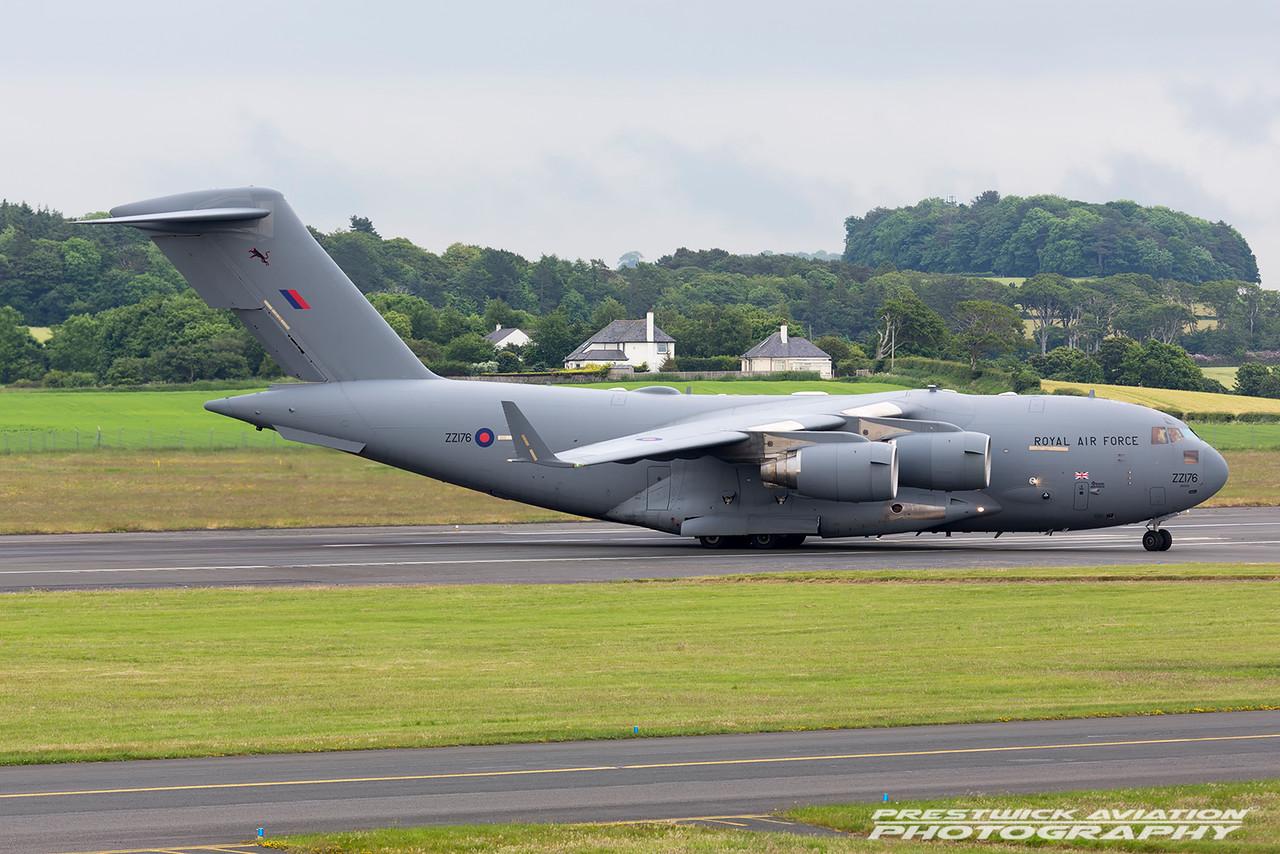 ZZ176. Boeing C-17A Globemaster III. RAF. Prestwick. 120616.