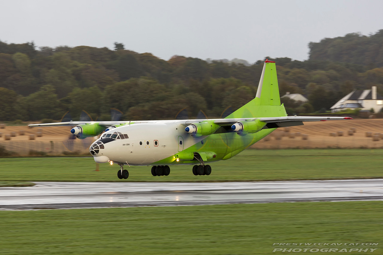 UR-KDM. Antonov AN-12BK. Cavok Air. Prestwick. 290916.