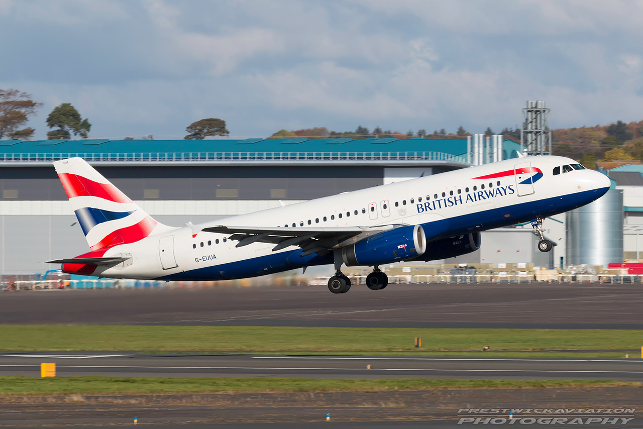 G-EUUA. Airbus A320-232. British Airways. Prestwick. 231016.