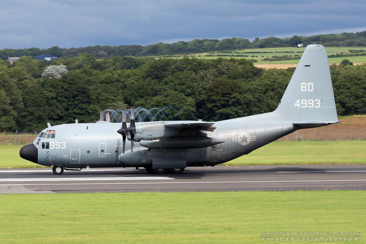 164993. Lockheed  C-130T Hercules. US Navy. Prestwick. 140816.