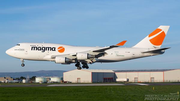 TF-AMP. Boeing 747-481(BCF). Magma Aviation. Prestwick. 010518.