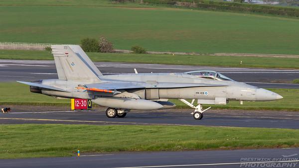 HN-419. McDonnell Douglas F-18C Hornet. Finnish Air Force. Prestwick. 100518.