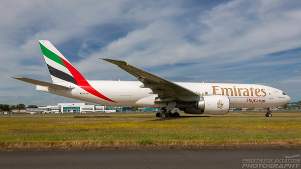 A6-EFD. Boeing 777-F1H. Emirates Sky Cargo. Prestwick. 230618.
