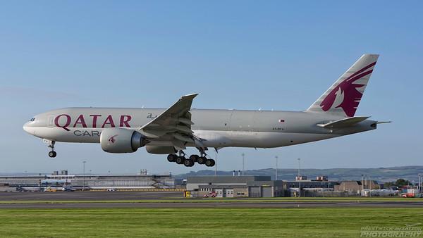 A7-BFA. Boeing 777-FDZ. Qatar Cargo. Prestwick. 310818.