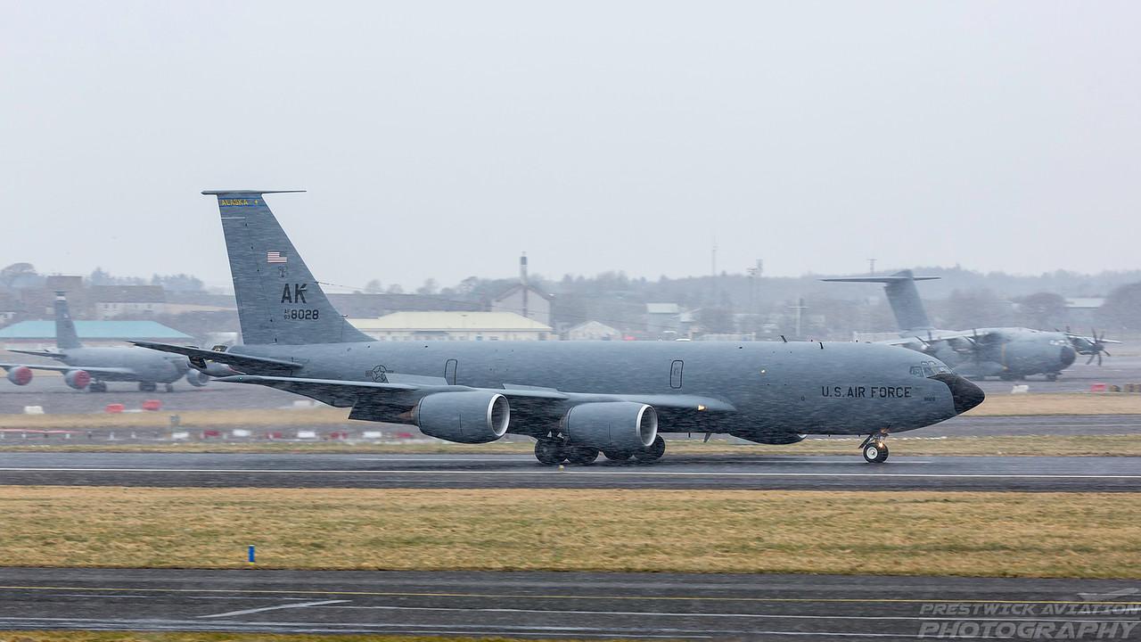 63-8028. Boeing KC-135R Stratotanker. USAF. Prestwick. 030318.