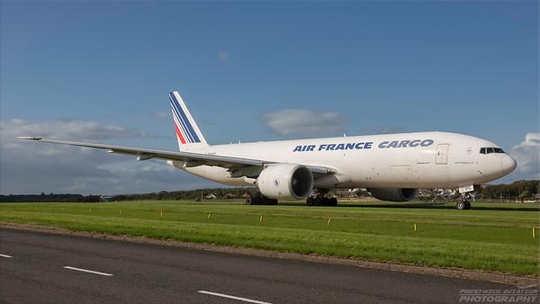 F-GUOC. Boeing 777-F28. Air France Cargo. Prestwick. 290818.