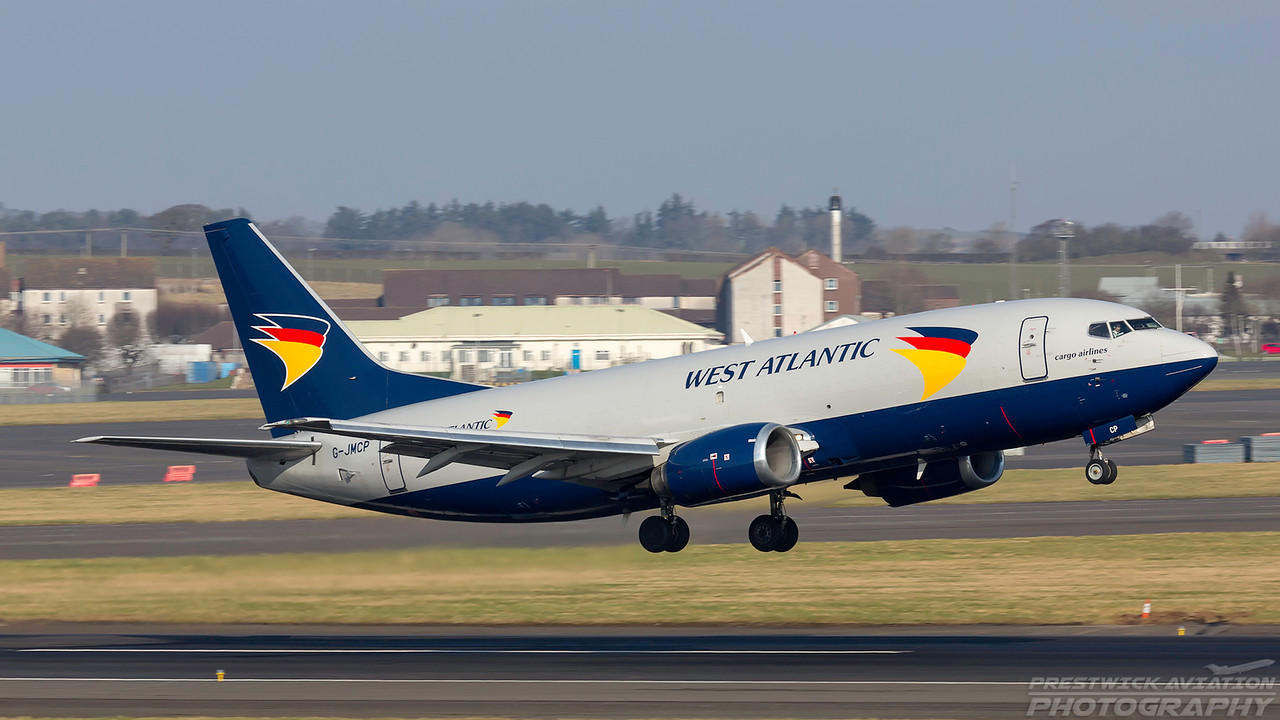 G-JMCP. Boeing 737-3T0(SF). West Atlantic. Prestwick. 240218.