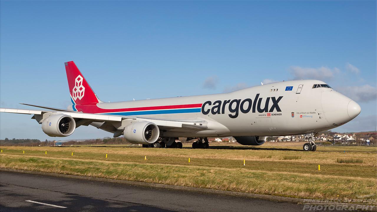 LX-VCB. Boeing 747-8R7F/SCD. Cargolux. Prestwick. 200218.