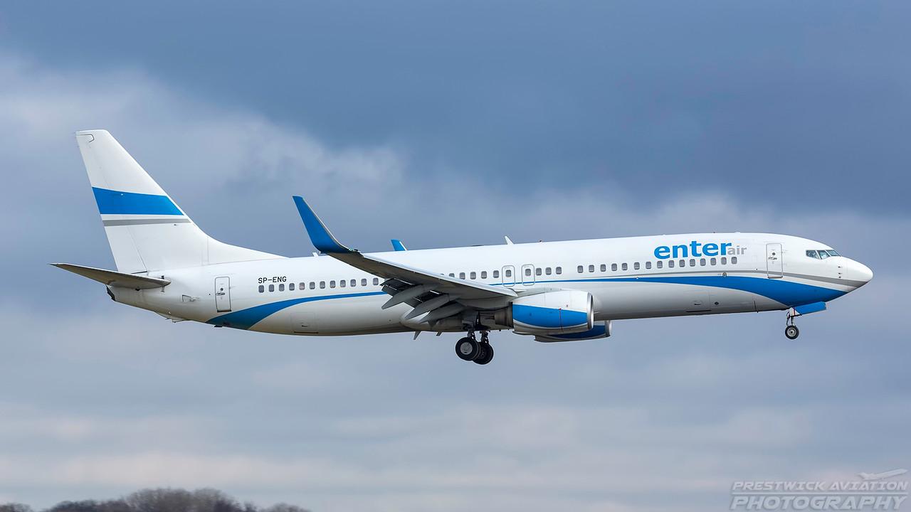 SP-ENG. Boeing 737-8CX. Enter Air. Prestwick. 050318.